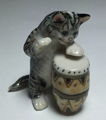 Kitty Tiger Cat Ceramic Figurine Play Drum Musical Miniature Animal Collectible