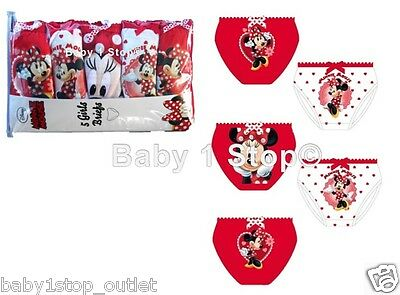 Disney Minnie Mouse Girls 5 Pack Cotton Briefs Pants Knickers 3 to 10 Years