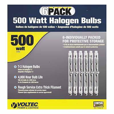 Voltec 500 W Replacement T-3 Halogen Bulbs *6-Pack* 08-00631