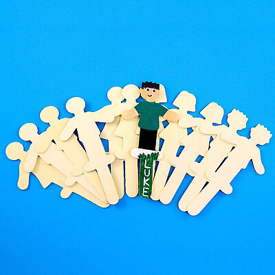 Wooden Shape Sticks - People . Pack of 12 . Decorate & Personalise. Wood Crafts