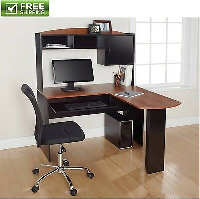 Corner Computer Desk Table Storage Hutch Keyboard Tray Home Office Furniture New