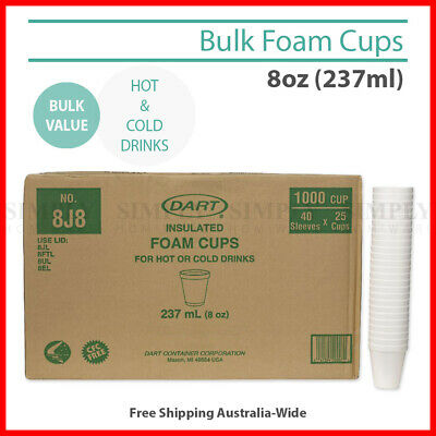 Foam Cups Polystyrene Coffee Styrofoam Disposable Cup Insulated Bulk 8oz Tea