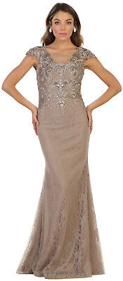 SALE !! LONG SLEEVES MOTHER of THE BRIDE GROOM DRESS COVERED FORMAL EVENING GOWN