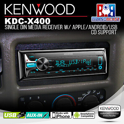 New Kenwood Kdc-x400 Premium Line Single Din Cd Dual Usb Aux In Unit Multi Color