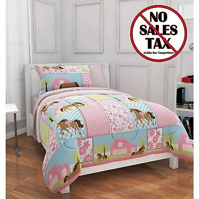 twin size girls pony country horse bed in bag comforter 5 pc set bedding pink