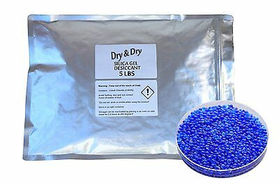 "5 LBS ""Dry & Dry"" High Quality Blue Indicating Silica Gel Desiccant Beads"