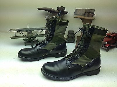 Vintage 1989 Usa Ro-Search Black Leather Military Engineer Jungle Boots 11.5 R