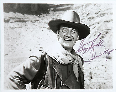 John Wayne Signed 10X8 Photo, Great Studio Film Image, Looks Great Framed