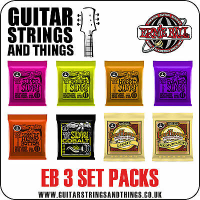 Ernie Ball 3 SET PACK of Electric and Acoustic Guitar Strings - ALL GAUGES