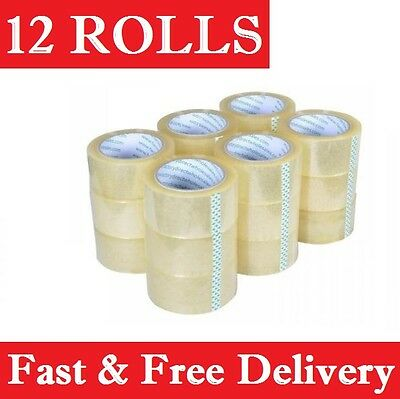 Packing Tape 12 Rolls Clear sticky Sealing Packaging 48mm x 75 meter Free Post