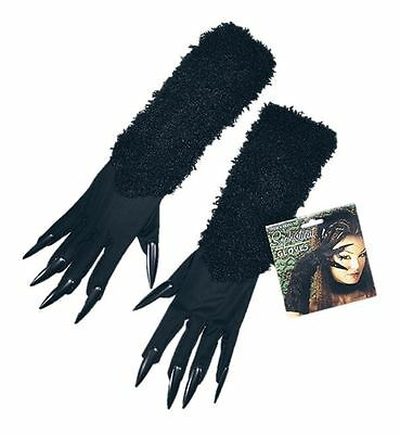 Ladies Long Black Gloves Claws Cat Costume Fancy Dress Halloween Accessory