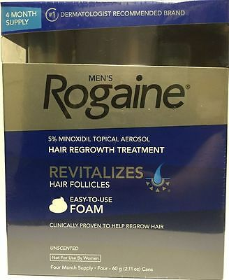 4 Month Supply Men's Rogaine Unscented Foam 5% Minoxidil Hair Regrowth Treatment