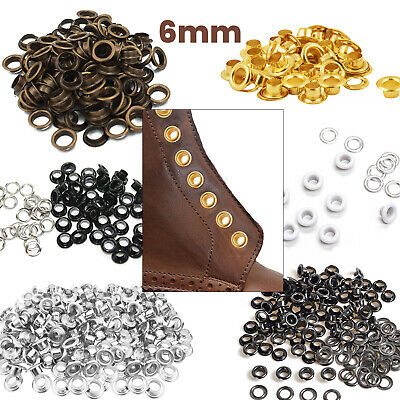100 x 6mm Eyelets & Washers Grommets for Leather Craft Cards Banners Inner 6mm
