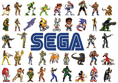 Stickers Autocollant Transparen Poster A4 Video Games Jeux Sega Mix Multi Persos