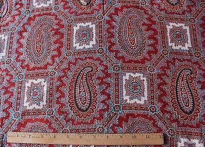 "Antique 19thc French Turkey Red Block Print & Paisley Fabric~L-36"" X W-20"""