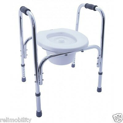 Height Adjustable Lightweight Aluminium Commode With Lid and Pan