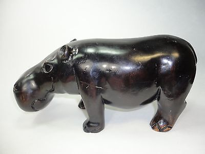 Vintage  Wood  Hand-carved Hippo Figurine statue.Rare Blak ebony color painted