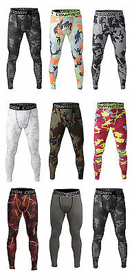 Mens Compression Tights Workout Pants Base Layer Thermal Running Fitness Legging