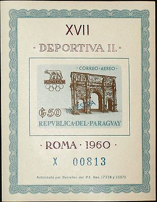PARAGUAY 1963 Block 42 S/S C314 MUESTRA Summer Olympics 1960 Rome Rom MNH