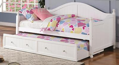 Camelback White Wooden Twin Daybed with Trundle by Coaster 300053