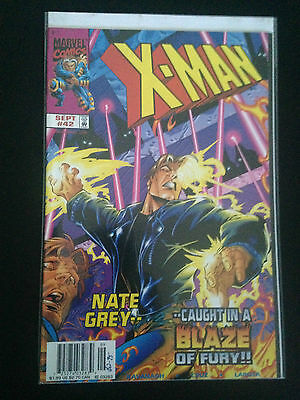 Box 12d, Comic Marvel, X-man, # 42 Sept, Nate Grey Caught In A Blaze of Fury