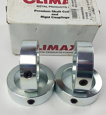"CLIMAX METAL PRODUCTS Premium Shaft Collar, Set Screw, 4Pc, 2-7/16"" St Free Ship"