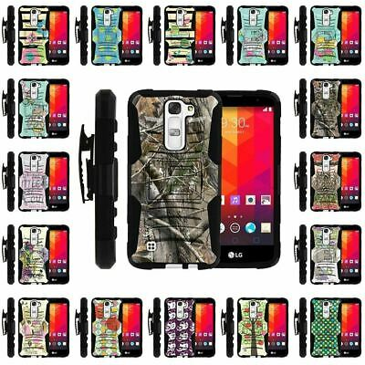For LG Logos | Black shockproof Armor Belt Clip Holster Hard Cover Case