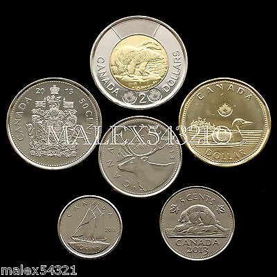 Canada 2013 Complete Coin Set 5 Cents To 2 Dollars Uncirculated (6 Coins)