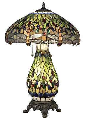 """Gorgeous Tiffany Style Table Lamp Stained Glass Green Colorful Handcrafted 25"""" H"""