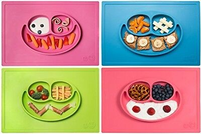 Happy Mat One-piece Silicone Placemat + Plate (Choose Blue Lime Coral)