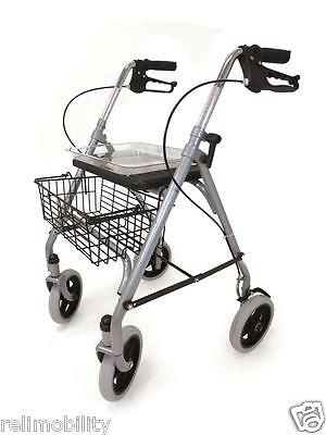 SR8 FOLDING 4 Wheeled Safety Rollator Walking Frame Seat Tray Basket ...