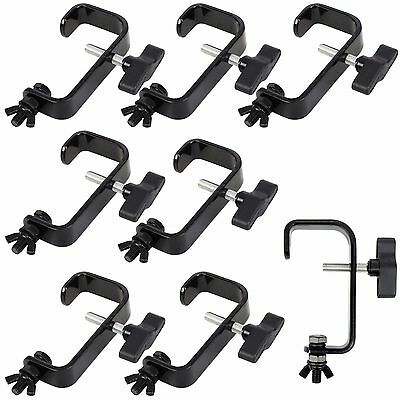 8 x Rhino Heavy Duty Black 50mm Steel Truss G Clamp Hook Bracket for Lighting