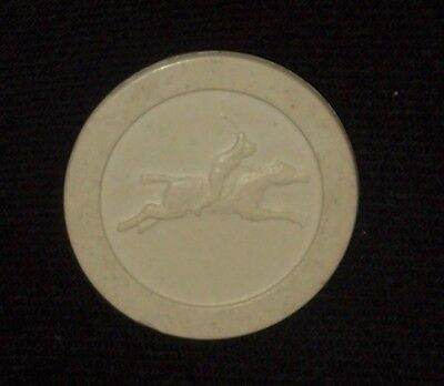 Vintage Clay Horse Racing Poker Chip - White