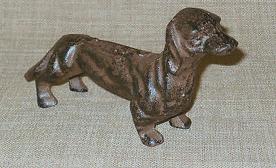 NEW~Darling Solid Cast Iron DACHSHUND Dog Figurine Rust Brown Finish