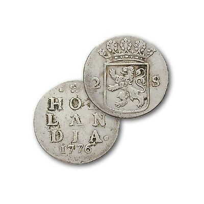 Holland 2 Stuiver 1701-1793 Motiv Hollandia Silber