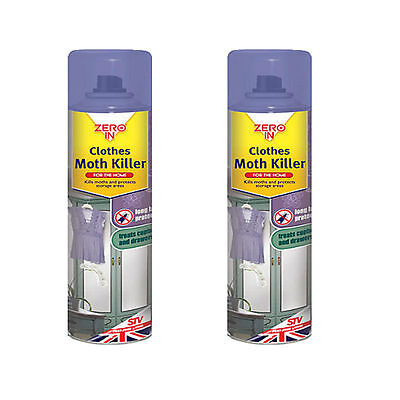 2 x Zero In Clothes Moth Killer Kill Moth larvae and Protect Storages Area 300ml