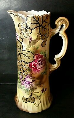"Large Antique Hand Painted Royal Nishiki Nippon 12 1/2"" Tankard - Gold Trim"