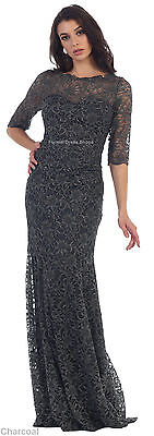 New 3/4 Sleeve Designer Evening Formal Gown Prom Fitted Stretchy Dress Plus Size