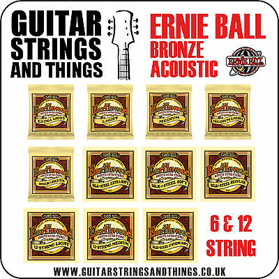 Ernie Ball EARTHWOOD 80/20 BRONZE Acoustic Guitar Strings - ALL GAUGES 6 & 12