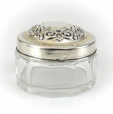 Whiting Mfg. Co. Sterling Silver & Cut Glass Vanity Jar, c1930 Repousse Foliate