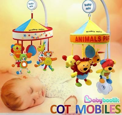 Baby Nursery Plush Cot / Crib Mobile Toy Soothing Musical Lullaby Sounds Canopy