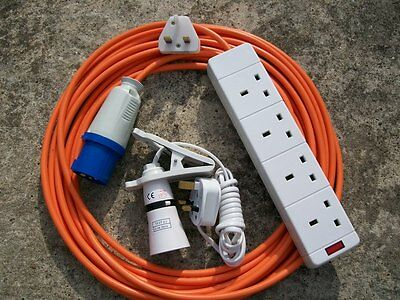 Camping Electric Hook Up With 4 Way Socket Clip On Light And Night Light Orange
