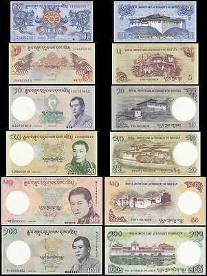 Bhutan 1, 5, 10, 20, 50, 100 Ngultrum Set, 2011-2015, P27-32, UNC