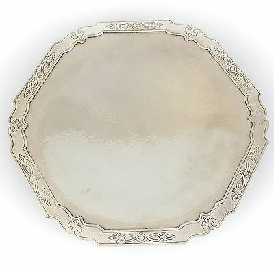 Shreve & Co. Sterling Silver Hand Hammered Pedestal Tray #5762, c1920