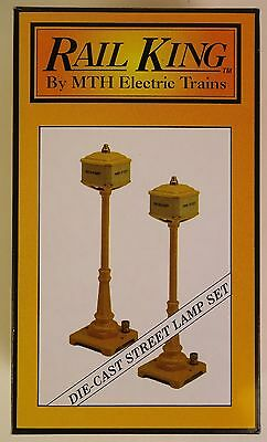 Rail King By Mth #mt-1028 Die-Cast Metal #57 Yellow (2) Street Lamp Set-Mib!