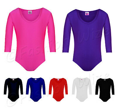Ages (2-18) Girls Gymnastics Leotard Stretchy Dance Sports Sleeve Top Uniform