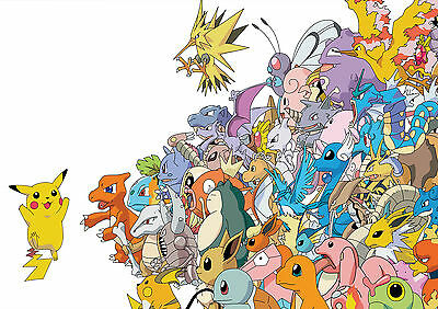 Stickers Autocollant Transp Poster A4 Game Nintendo Pokemon Pikachu All Characte