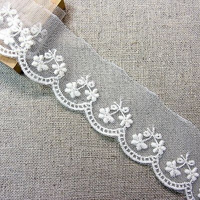 Vintage Style Embroidered Tulle Lace Trim 4cm Wide Flower Floral 3yds