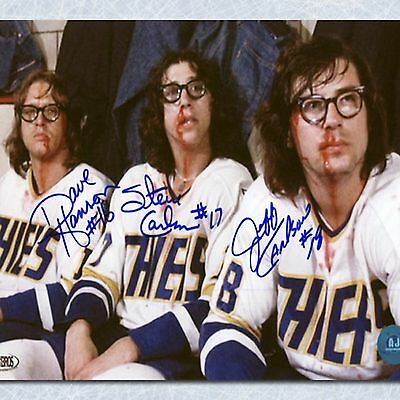 """The Hanson Brothers Autographed Slap Shot Movie """"Post Fight Bloody"""" 14x20 Photo"""
