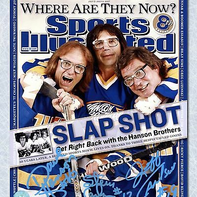 The Hanson Brothers Autographed Slap Shot Sports Illustrated Cover 16x20 Photo